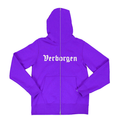 Embroidered Zip Up Hoodie - Purple