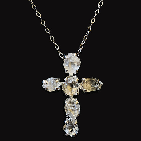 Herkimer All Natural 6 Stone Cross Necklace