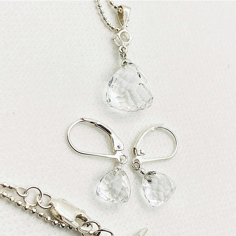 Herkimer Kiss Drop Necklace & Earring Set - SMALL
