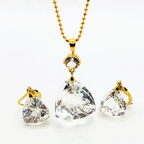 Herkimer Kiss Drop Necklace & Earring Set - LARGE