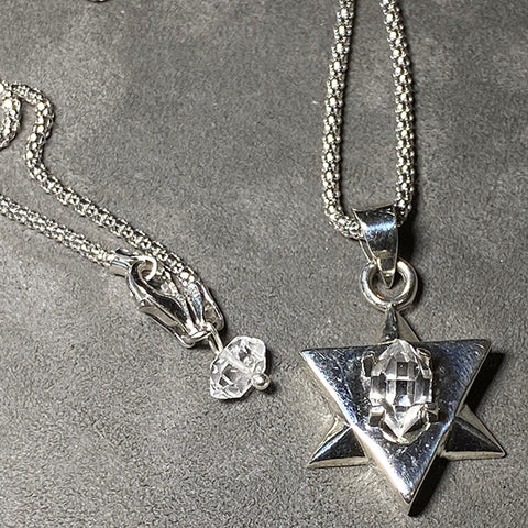 Herkimer Star of David Necklace