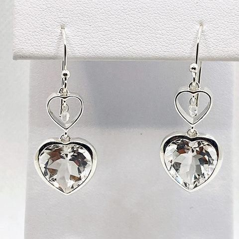 Herkimer Diamond Quartz Two Heart Natural & Faceted Drop Earrings
