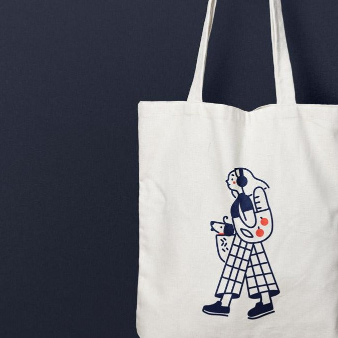 Dog Mom: Fun with lines canvas tote bag collection