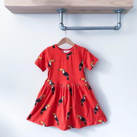 DRESS - RAZ THE TOUCAN ON TOMATO RED