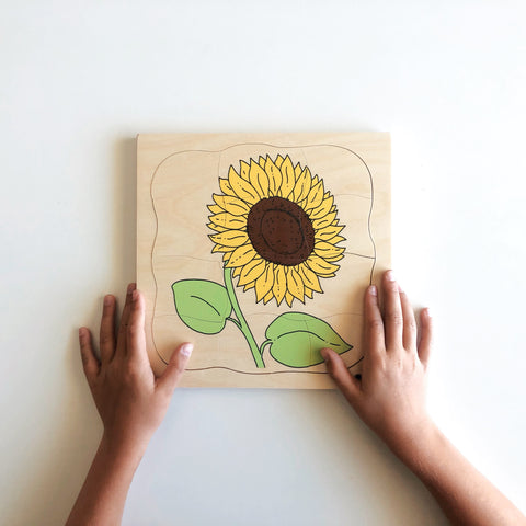 Wooden Growth Puzzle Sunflower