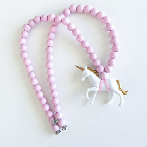 Pray4Trax Necklace White Unicorn On Candy Floss