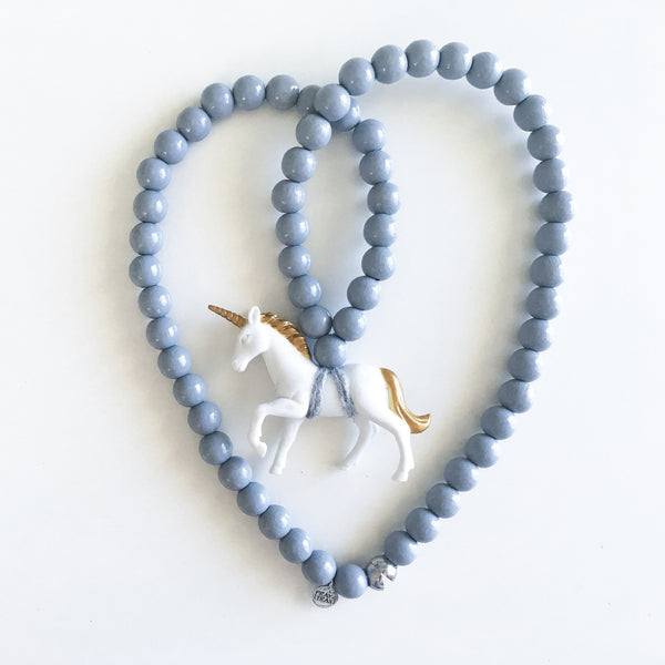 Pray4Trax Necklace White Unicorn On Grey