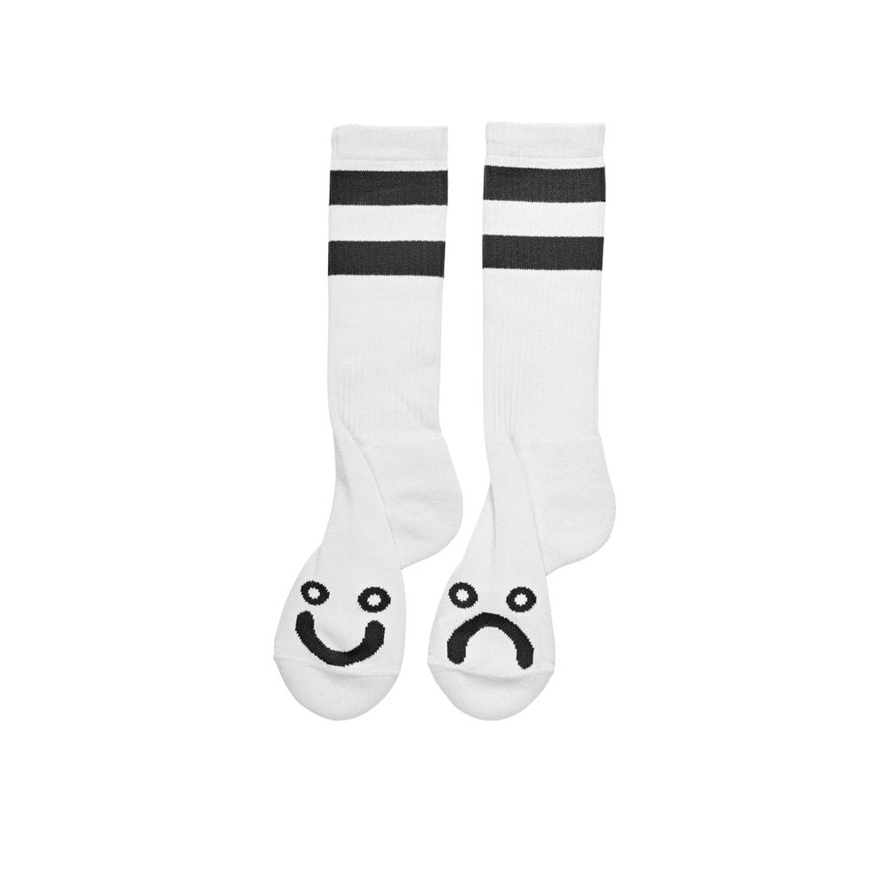 POLAR SKATE CO. - HAPPY SAD SOCKS LONG WHITE