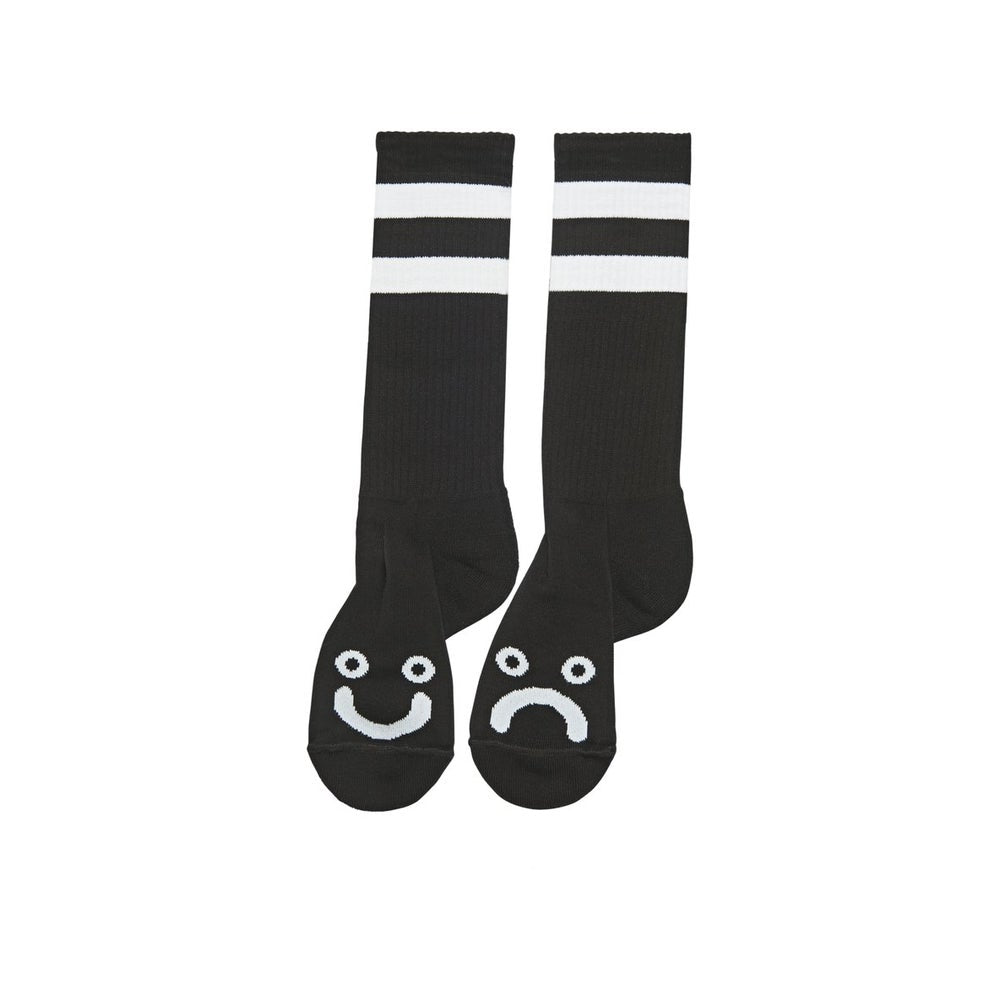 POLAR SKATE CO. - HAPPY SAD SOCKS LONG BLACK