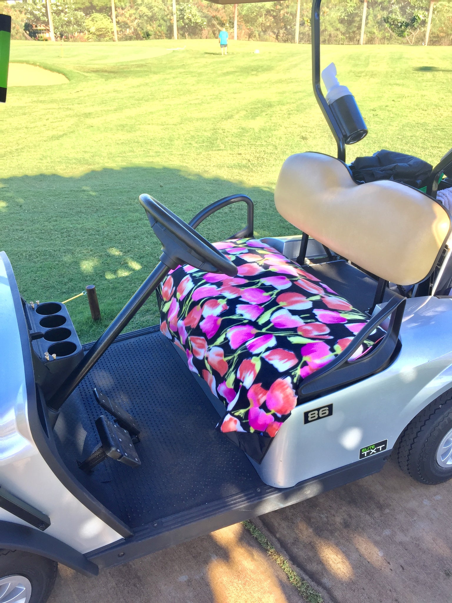 Golf Cart Seat Cover - Black Tulip