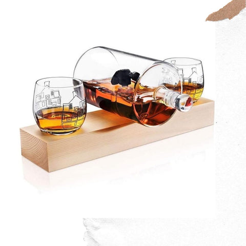 Whiskey Decanter and Whiskey Glass Set