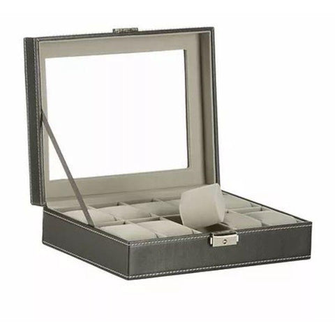 10 Slot Black Leather Watch Case Display