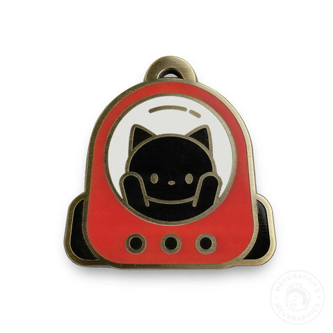 Cat Red Space Backpack Enamel Pin
