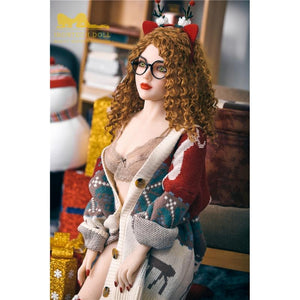 150cm European face small breasts Christmas brown curly hair sex doll Camille - tpesexdoll.com