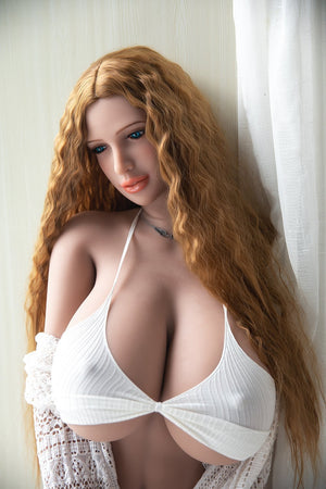Jarliet 171cm curvy F cup huge breasts orange long curly hair sexy sex doll-Vicky - tpesexdoll.com
