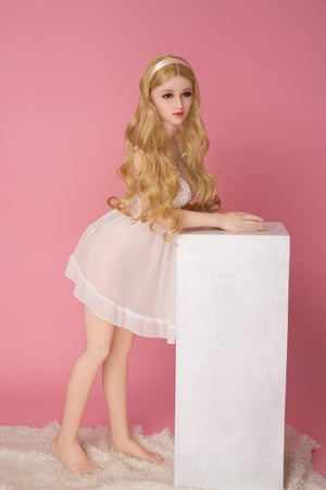 SanHui 125cm mini long curvy blond hair silicone sex doll-Sury - tpesexdoll.com