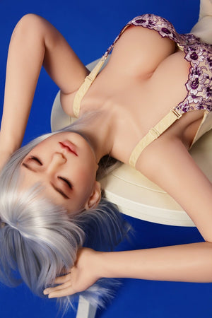 Sanhui 158cm close eyes silicone big boobs sliver hair sex doll-Yinling - tpesexdoll.com