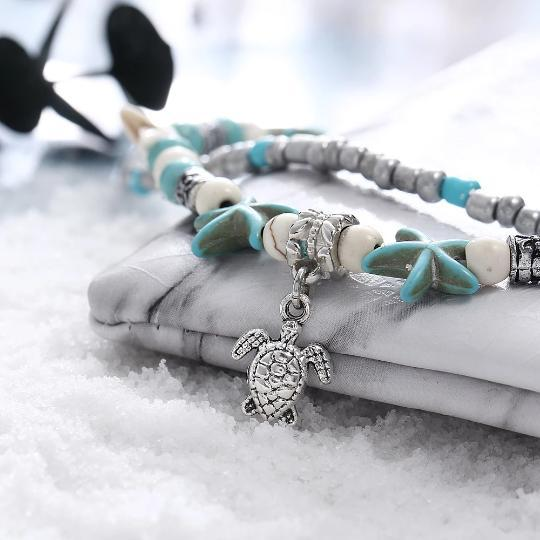 Turtle Alloy Beaded Anklet