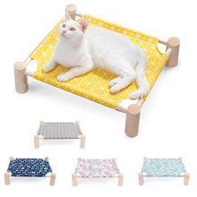 Load image into Gallery viewer, Elevated Cat Bed House Wood Canvas Cat Lounge Bed