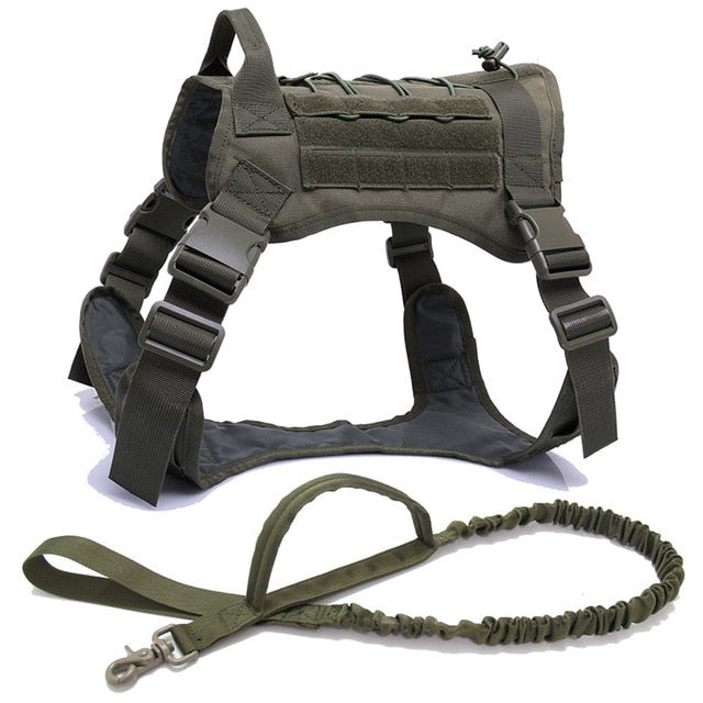 Military Tactical Dog Harness Shepherd Pet Dog Vest With Handle Nylon Bungee Dog Leash