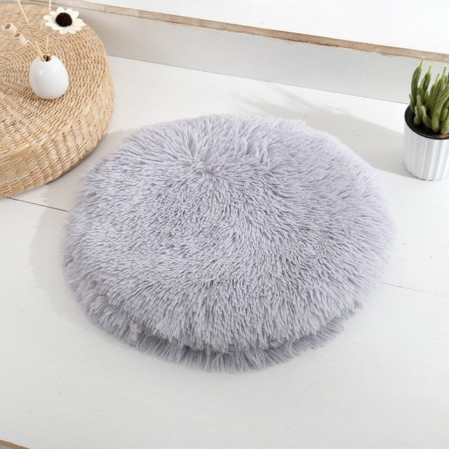 Round Pet Dog Bed Mat Long Plush Soft
