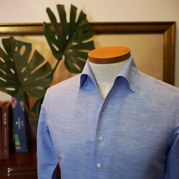 One Piece Collar Shirt in Cotton Linen [Made To Order]