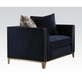 Acme Phaedra Chair with 2 Pillows in Blue Fabric 52832 image