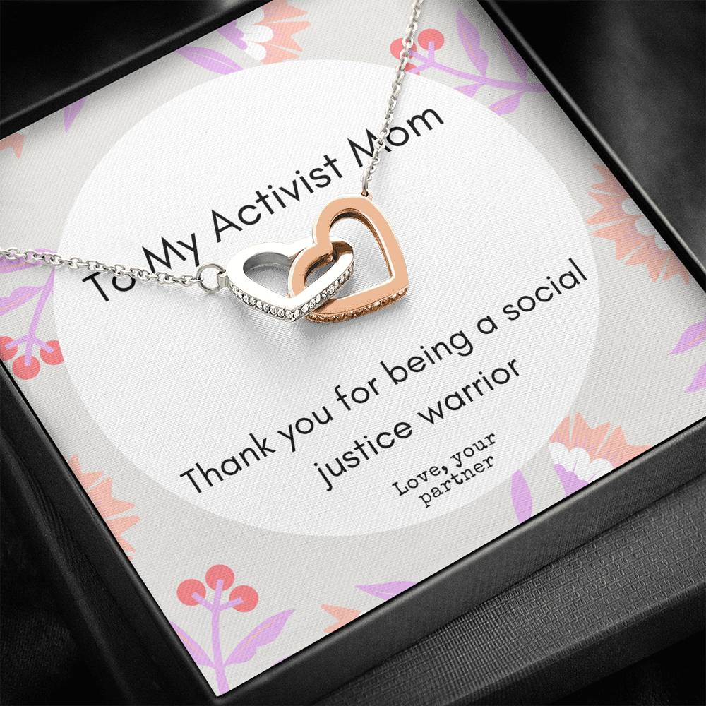 Activist Mom Two Heart Necklace