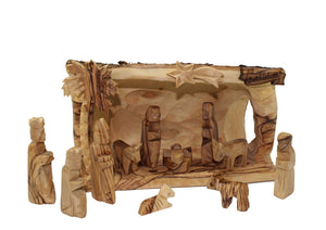 Hand Carved Olive Wood Modern Nativity Set