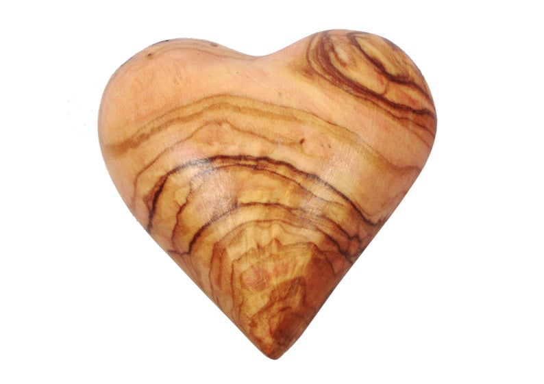 Hand Carved Olive Wood Hearts (Set of 10)