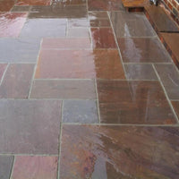 autumn brown Indian sandstone paving patio