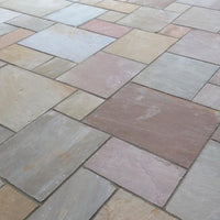 autumn brown Indian sandstone paving patio packs