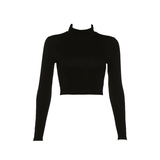 Open Back Long Sleeve Cropped Top