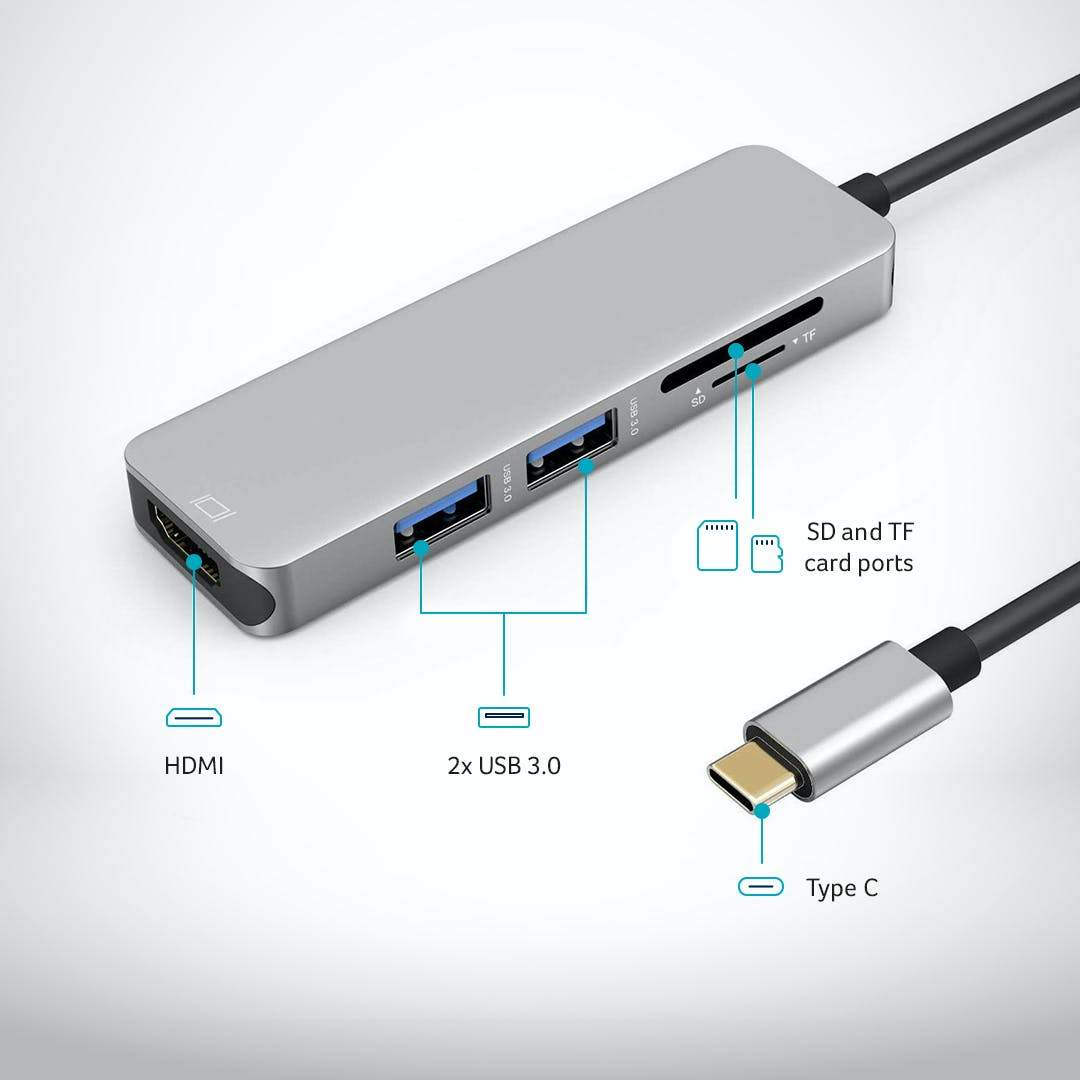 USB C Hub Multiport Adapter - 5 in 1 - Desklab Monitor