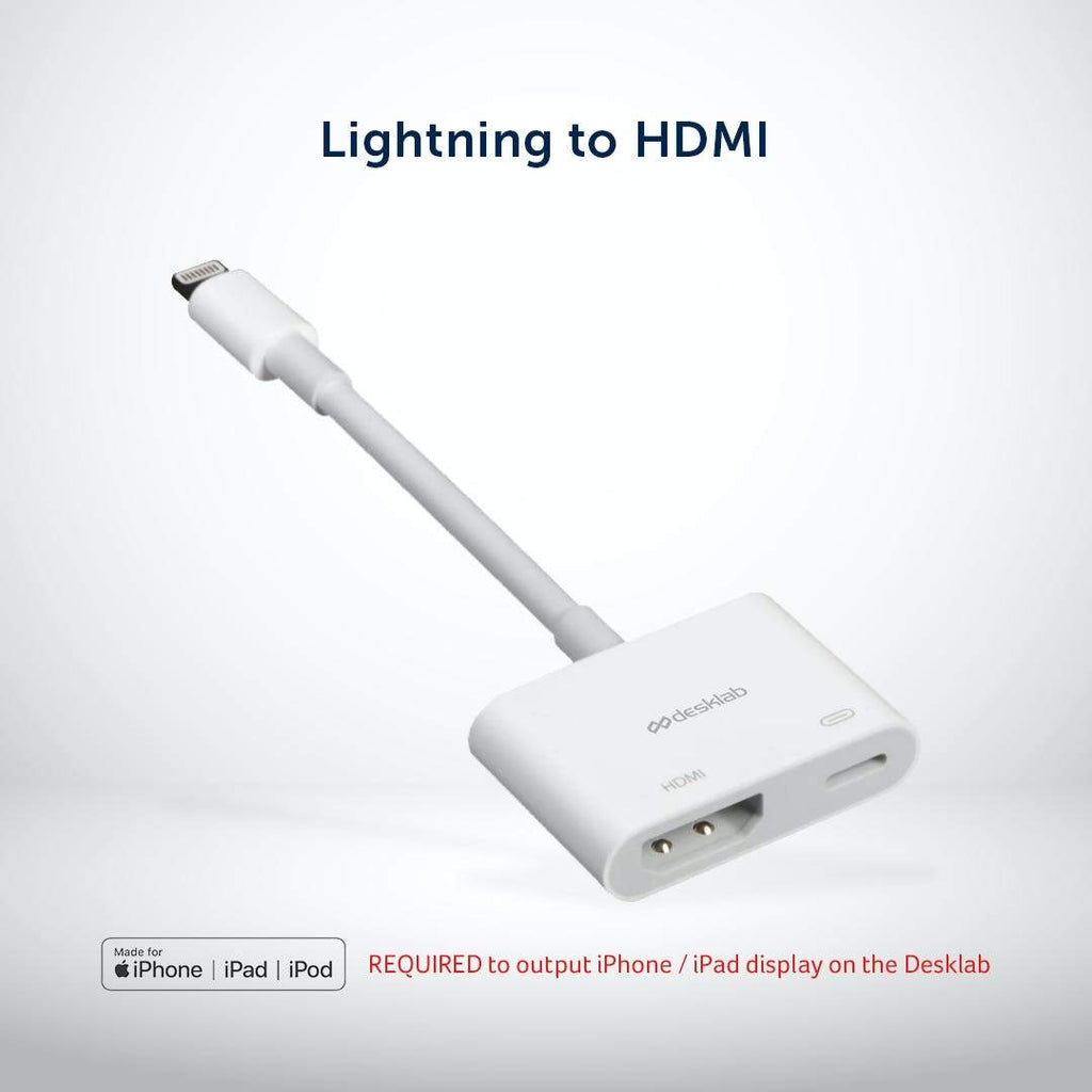 Apple MFi Certified iPhone / iPad Lightning to HDMI Adapter [REQUIRED for iPhone / iPad output] - Desklab Monitor
