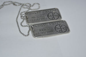 PAIR DOG TAGS YOUR NAME & BIRTHDAY