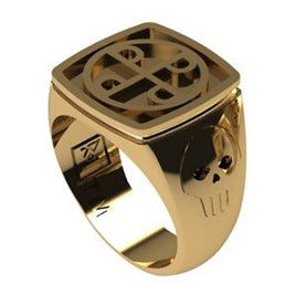 GENTS 9ct GOLD GOOD MARK RING SKULLS ON SHOULDER