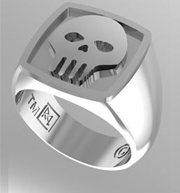 SKULL RING PLAIN SHOULDERS IN SILVER