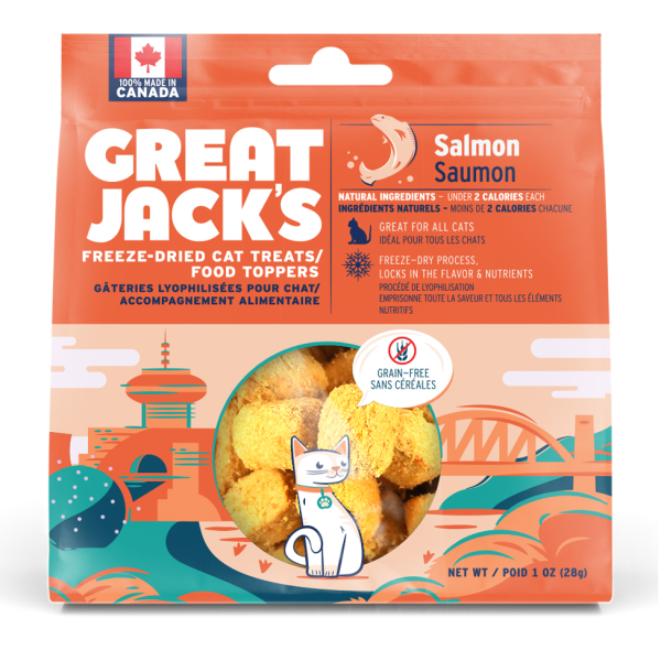Great Jack's Freeze-Dried Cat Treats/Topper Salmon 28g - The Raw Connoisseurs