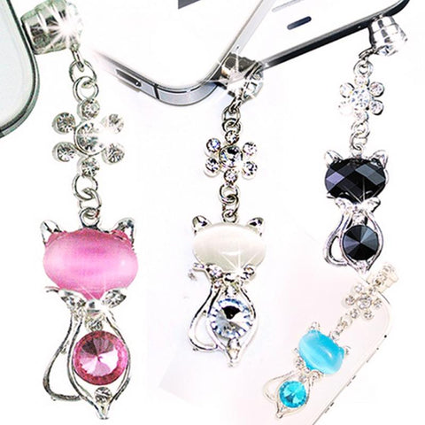 Rhinestone Cat Dust Plug