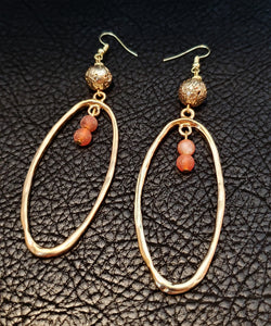 14K Gold Plated and Agate Earrings