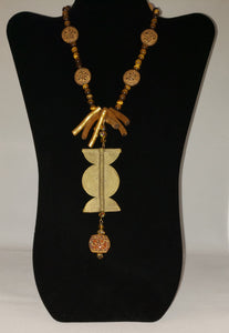 Tiger Eye and Brass Necklace