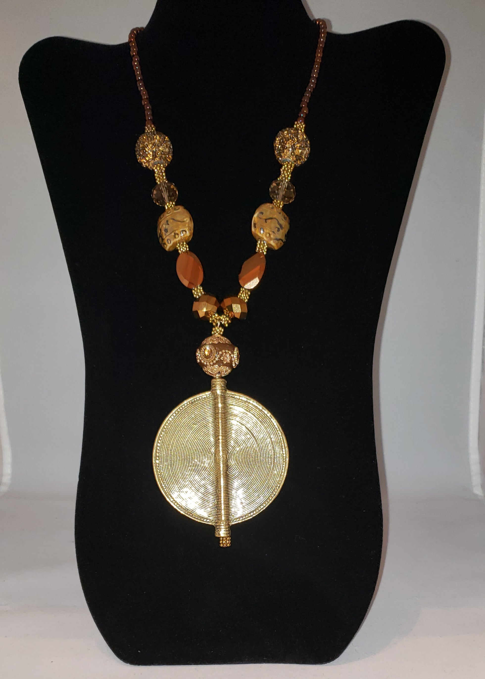 Ginger Brass and Glass Beaded Necklace