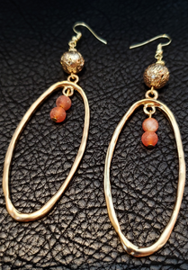 Agatha 14K Gold Plated Hoops with Agate