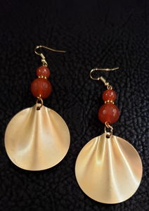 14K Gold Plated Carnelian Earrings
