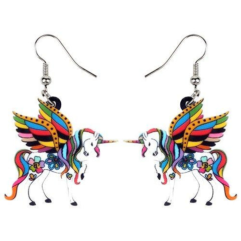 Unicorn Earrings Dangle Oranges