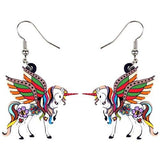 Unicorn Earrings Dangle Brown