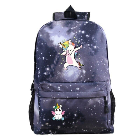 School Satchel Black Unicorn