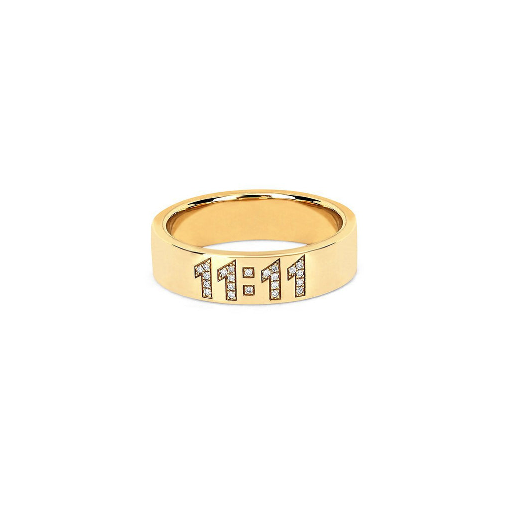 11:11 Pavé Diamond Band Yellow Gold