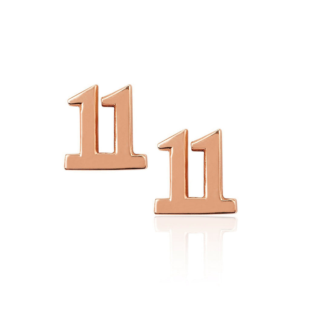 11 Numerology Studs Rose Gold